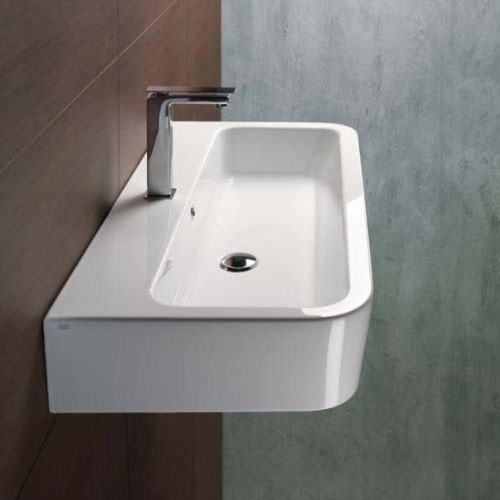 Modern Curved Rectangular Wall Mounted Or Vessel Ceramic Bathroom Sink By Gsi Modern