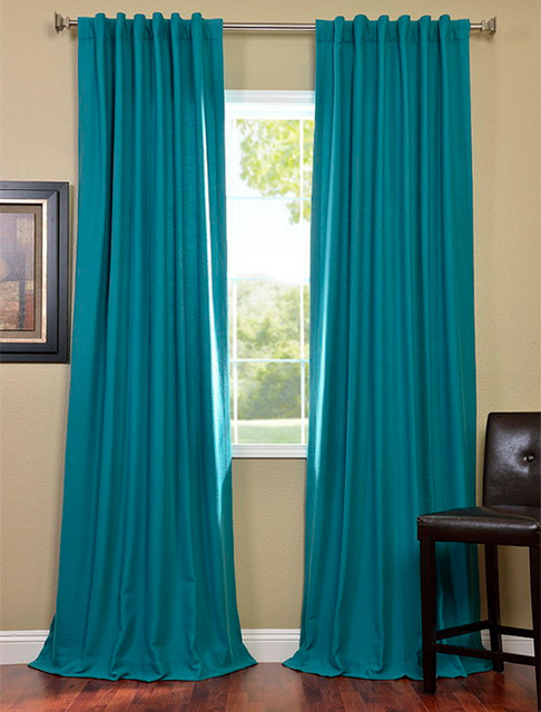 Turquoise Cotenza Pole Pocket Curtain Contemporary Curtains San Francisco By Half Price