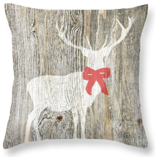 Christmas Deer With Red Bow Pillow - Rustic - Decorative Pillows - by Suzanne Powers