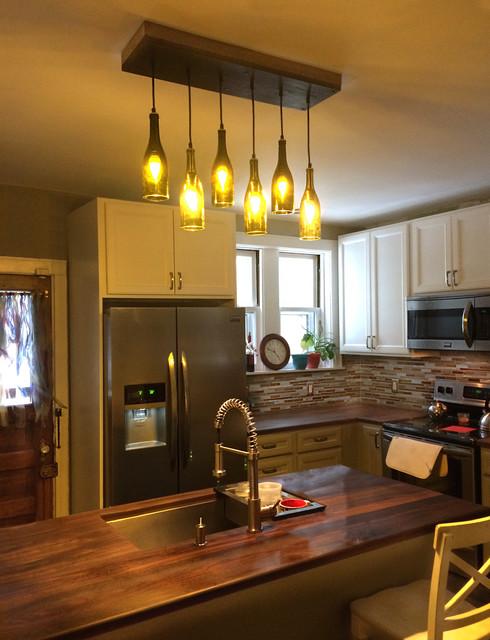 Residential lighting rustic kitchen island lighting for Rustic industrial kitchen lighting
