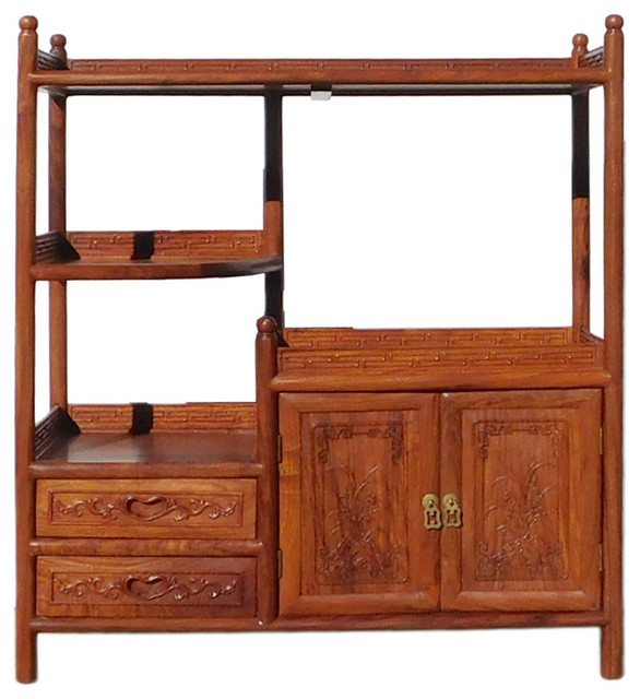 Chinese Huali Rosewood Display Cabinet Side Table Asian Bookcases