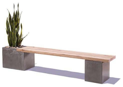 Concrete wood planter bench by tao concrete moderne banc de jardin par etsy for Banc de jardin moderne