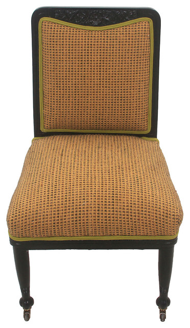 Traditional Upholstered Dining Chairs ~ Upholstered puritan chair on casters traditional dining chairs