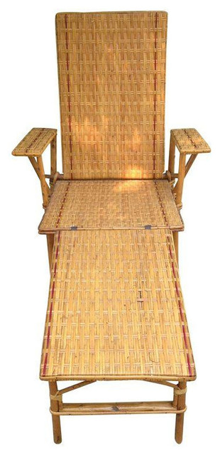 1920s 1930s vintage wicker and bamboo chair for 1930s chaise lounge