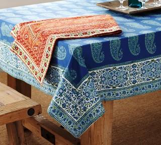 Paisley Block Print Tablecloth Traditional Tablecloths