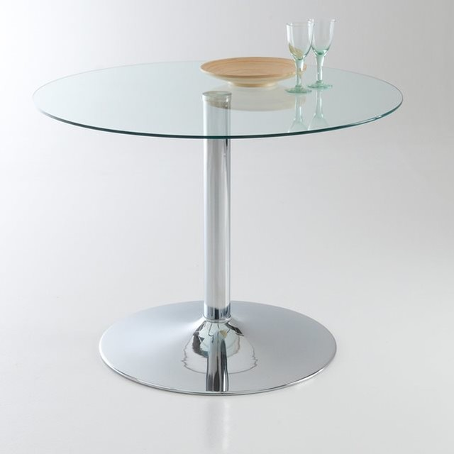 Table Ronde Contemporaine Verre Tremp 4 Couverts