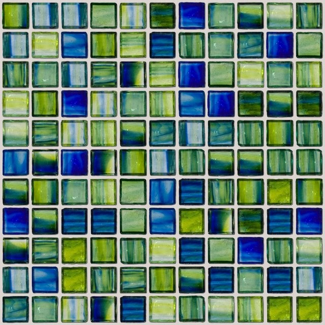 swirl handmade glass tile green and blue full sheet
