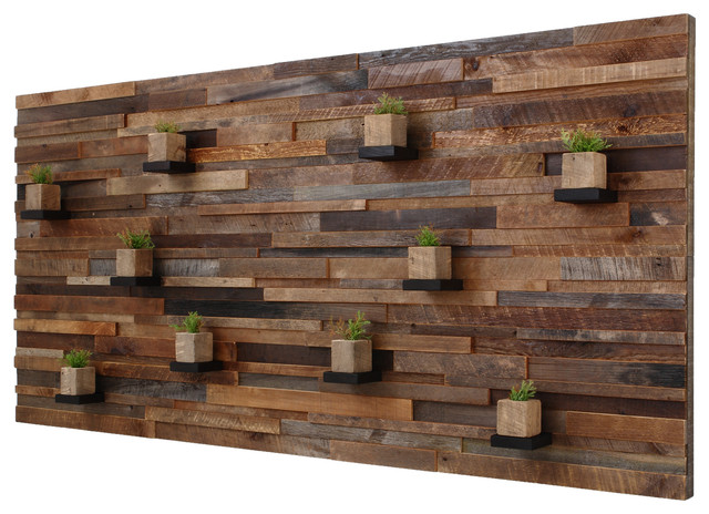 Reclaimed Barn Wood Wall Art With Floating Shelves 7x34