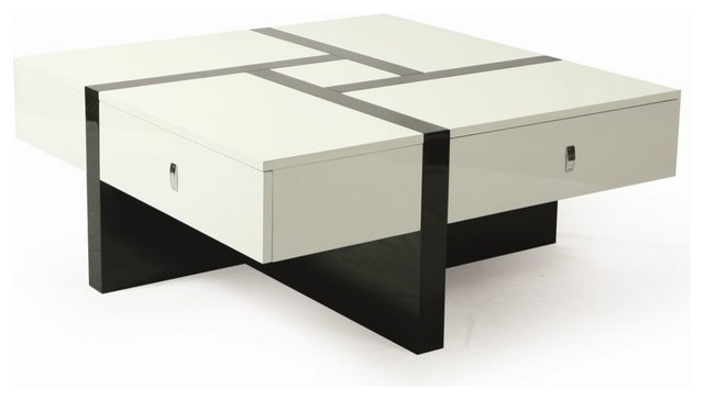 Pastel Furniture Jumeirah 40 Inch Square Coffee Table In Black White Contemporary Coffee