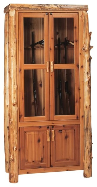 Cedar gun log cabinet in lacquer finish 8 gu for Catalyzed lacquer kitchen cabinets