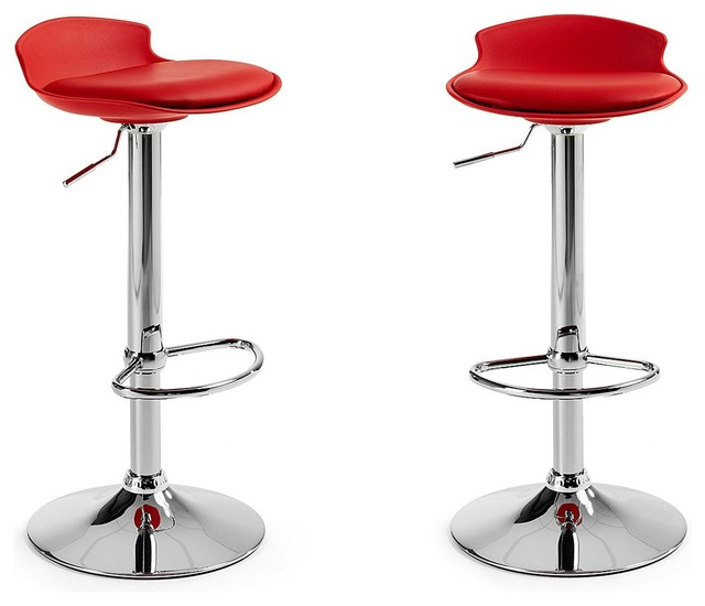 Lot de 2 tabourets de bar design uma one couleur rouge moderne chaise et tabouret de bar for Tabouret bar couleur