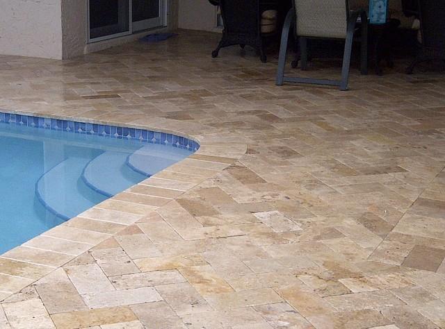 Travertine pool areas travertine pool tile pavers for Pool area tiles