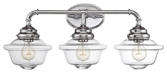Savoy house fairfield 3 light bath vanity light in chrome for Traditional bathroom vanity lights