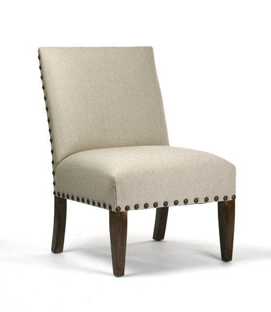 Traditional Living Room Chairs: Linen Chair With Nailhead Trim