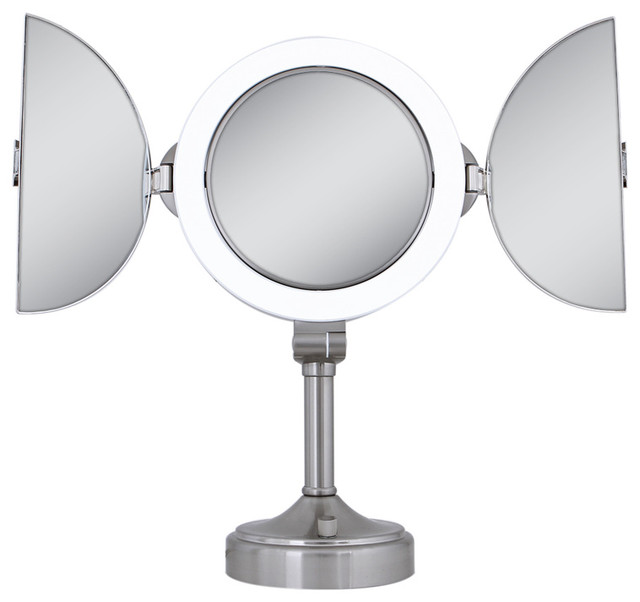 zadro surround light 1x 10x tri fold vanity mirror in satin nickel slvt410 contemporary. Black Bedroom Furniture Sets. Home Design Ideas