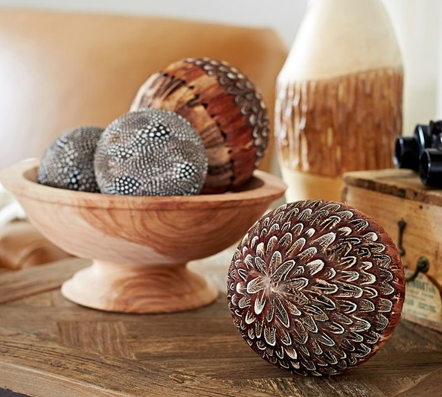 Feathered spheres vase filler contemporary home decor