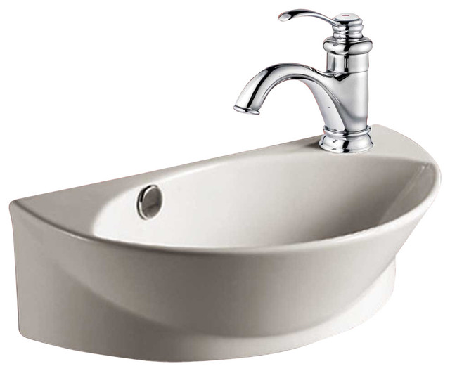 Vitreous Semi-Arc Sink, White, Small, 17.25