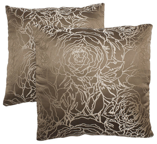 18 Taupe Decorative Pillows Set Of 2 Traditional