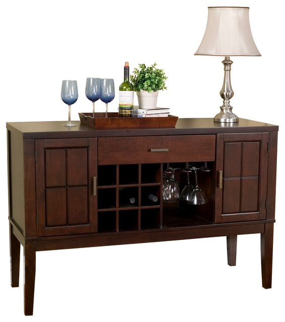 Havenhurst Server With Wine And Glass Rack - Transitional - Buffets And Sideboards - by Alpine ...