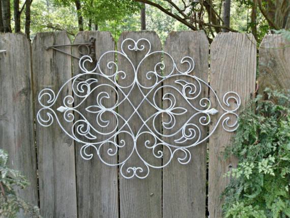White Shabby Chic Metal Wall Decor Fleur De Lis By The