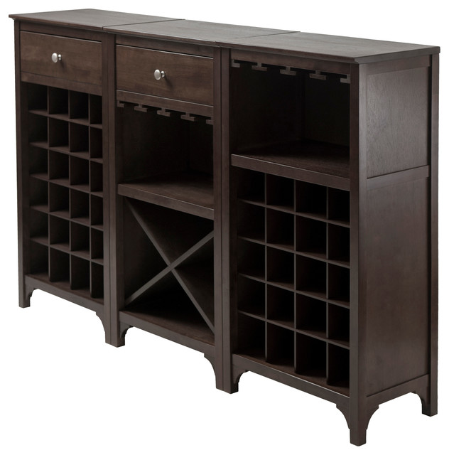 Ancona 3-Piece Wine Cabinet Modular Set - Transitional - Wine And Bar Cabinets - by Winsome