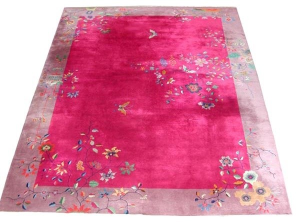 Fabulous Chinese Art Deco Rug With Butterfly Amp Floral