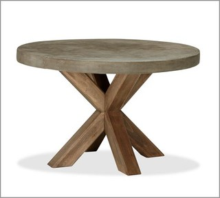 Abbott Faux Concrete Top Round Fixed Dining Table Modern