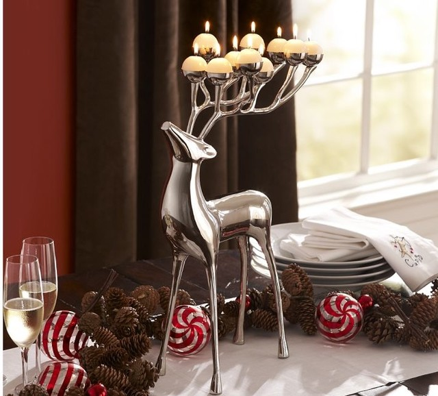 Silver Plated Reindeer Candelabra Modern Candleholders
