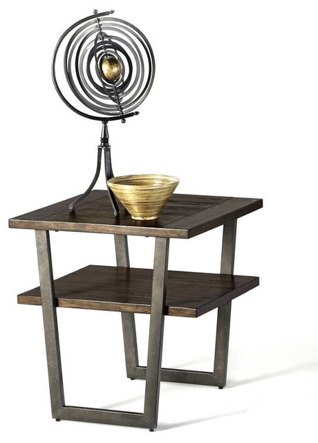 Sedona transitional light wire brushed wood rectangular for Light wood side table