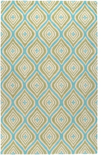 Contemporary Green Wool Rug, 5'x8', Country CT3123 ...