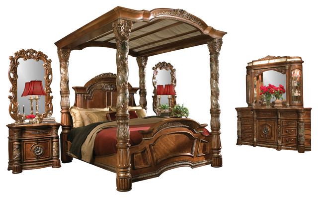 5 Piece Villa Valencia King Size Canopy Poster Bedroom Set Victorian Bedroom Furniture Sets