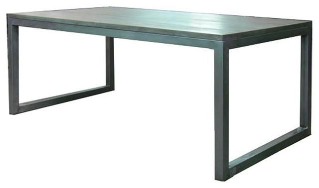 Mesa comedor en hierro pulido y madera sau industrial for Mesa de centro industrial