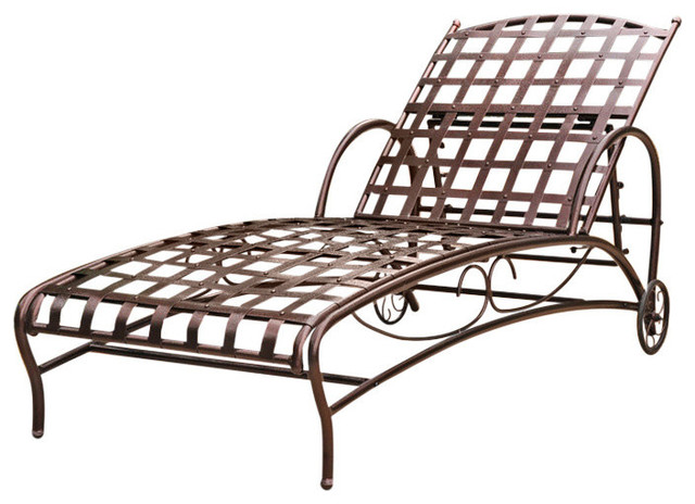 Iron bronze multi position patio chaise lounger for Bronze chaise lounge