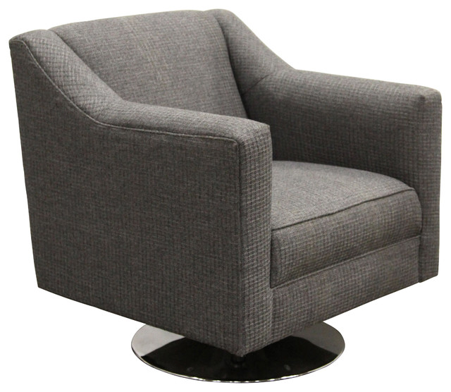 Salma swivel chair waffle weave charcoal upholstery for Modern swivel accent chair