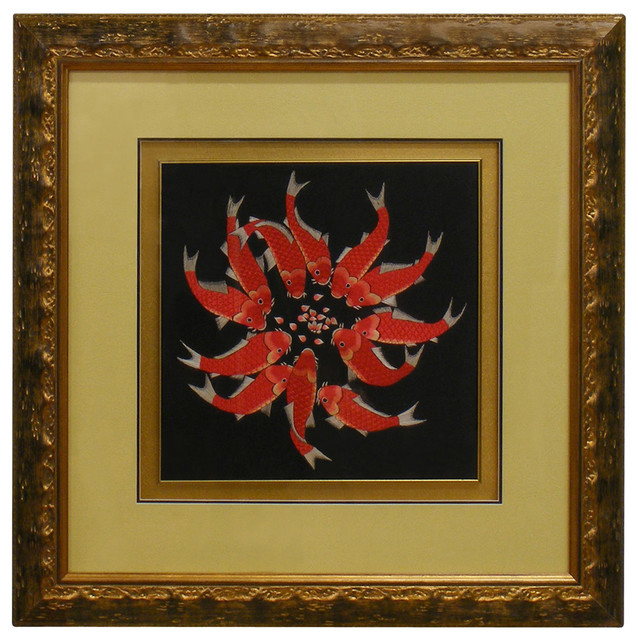 Prosperity koi silk embroidery shadowbox asian home for Asian furniture westmont il