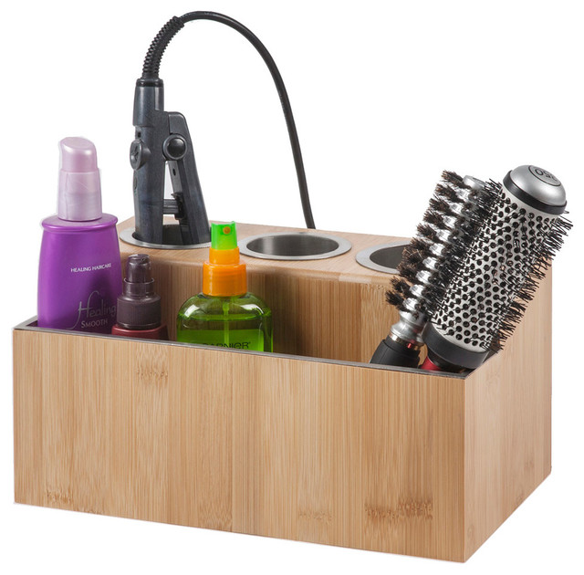 Eco-Friendly Bamboo Hair Styling Station, Without Power contemporary-bathroom-organizers