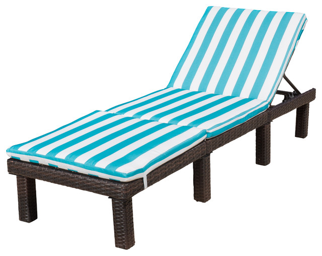 Estrella brown wicker adjustable chaise lounge chair with for Blue and white striped chaise lounge cushions