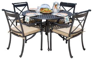 carrolton 4 person cast aluminum patio dining set with round table
