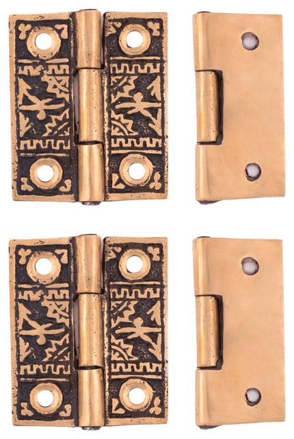 Oriental Cupboard Hinge, Polished Bronze - Hinges - by Charleston Hardware