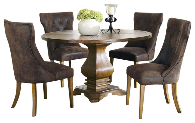 Coaster parkins 5 piece round pedestal dining table set for Traditional round dining table sets