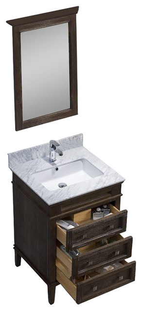 Bordeaux 24 Vanity Set With Carrara Marble Top Black Red Oak Contemp