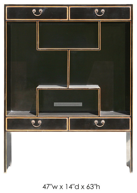 Multi Level Black Lacquer Display Cabinet - Contemporary - Accent Chests And Cabinets - san ...