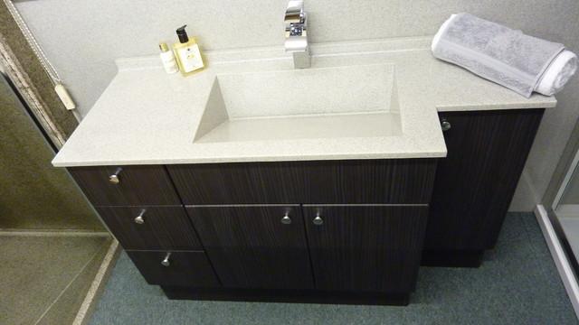 Slot Drain Integral Bowl Vanity Top With Cabinet Modern Bathroom Vanity U