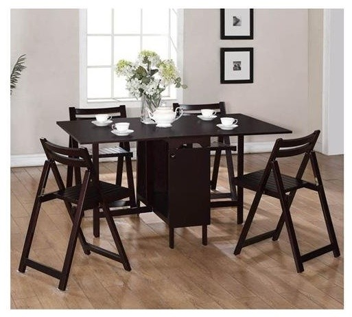 Linon home decor 5 piece space saver table and chairs set for Space saving dining set