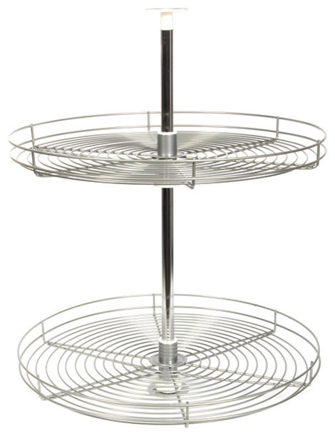 "Knape & Vogt Lazy Susan Full Round 2 Wire Shelves Set, Frosted Nickel, 24"" Round - Contemporary ..."
