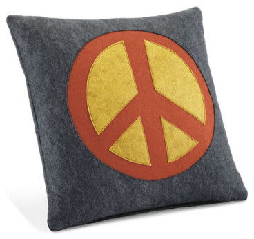 Peace Charcoal Pillow - Room & Board - Eclectic - Decorative Pillows - by Room & Board