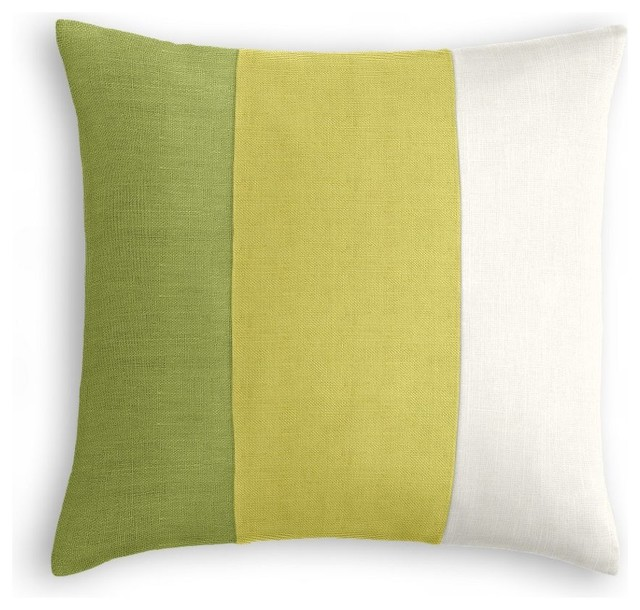 Moss Green, Citrus and Ivory Linen Color Block Pillow - Contemporary - Decorative Pillows - by ...