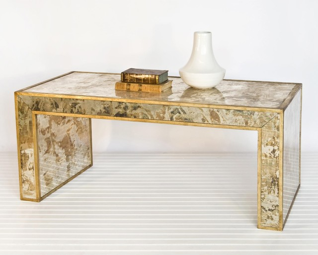 Worlds Away Reverse Mirror Coffee Table Gold Leaf