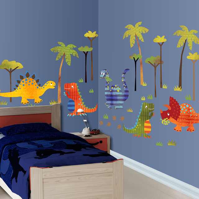 Dinosaur wallscape decal contemporary kids wall decor san francisco by lot 26 studio inc - Boys room dinosaur decor ideas ...