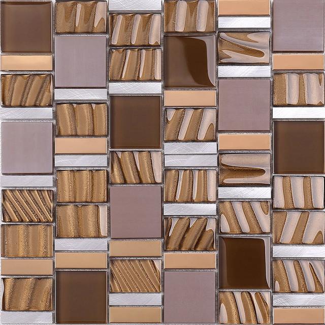 brown gold metal glass kitchen backsplash tile 12 x 12